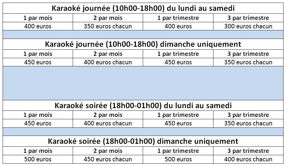 Tarifs Karaoké à Troyes
