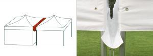 Gouttières pour tentes, grâce a ce système vous pourrez accoler deux tentes pour agrandir la superficie de votre lieu sans aucun risque de voir la pluie se faufiler entre les tentes.